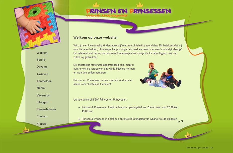Website KDV Prinsen en prinsessen